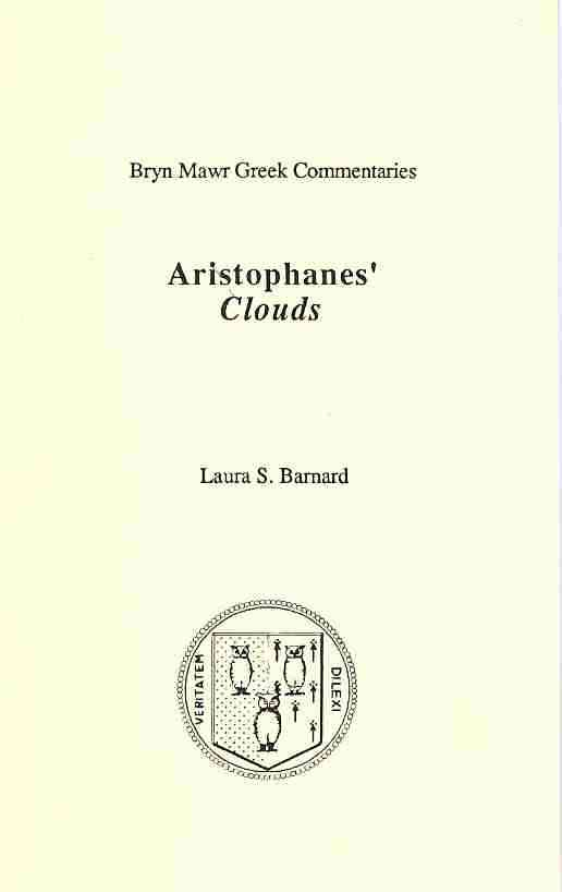Aristophanes' Clouds By Barnard, Laura S.